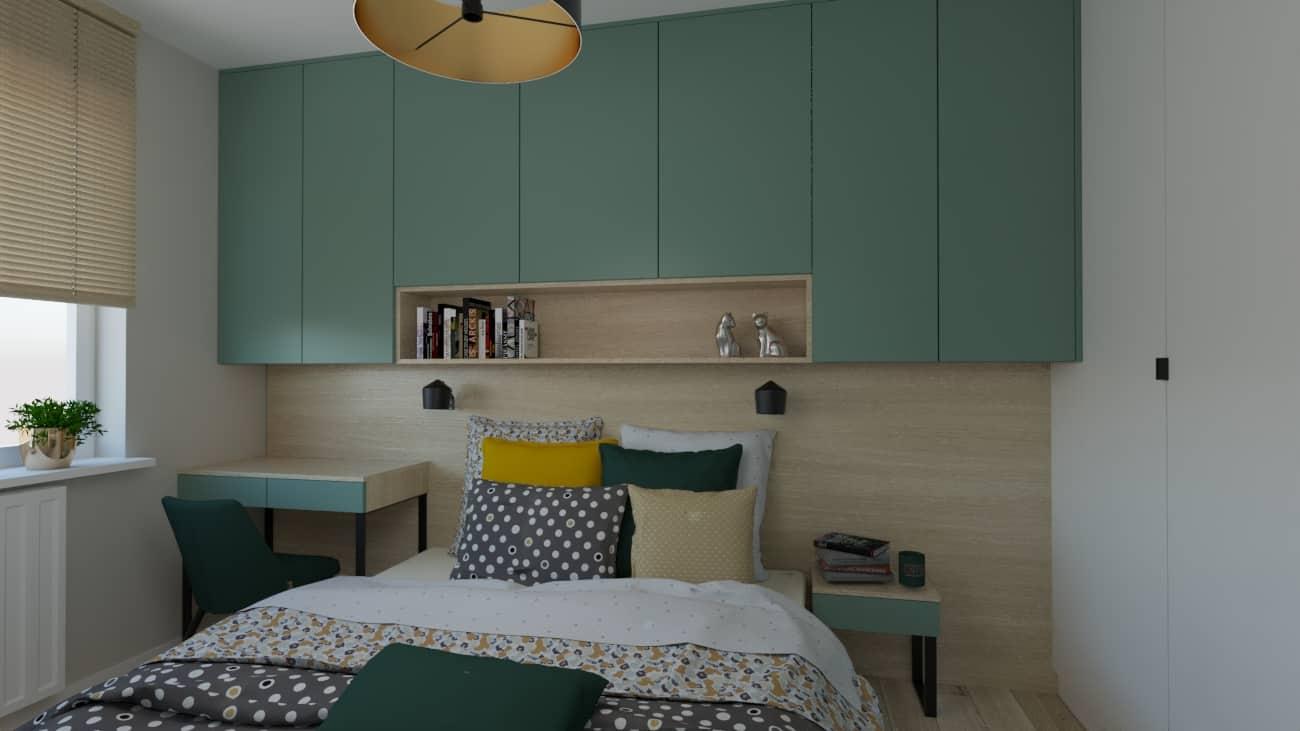 projektanci wnętrz sypialnia zielona 1b Sypialnia zielona