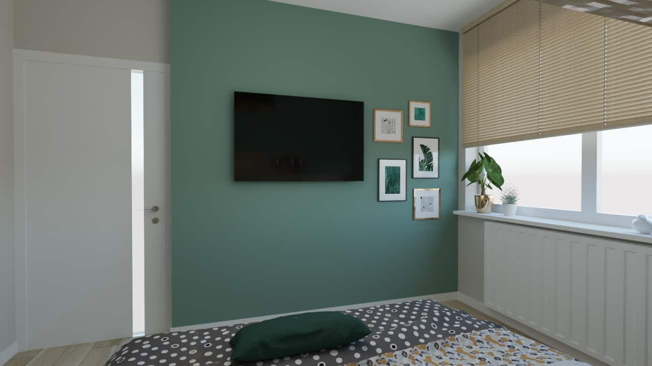 projektanci wnętrz sypialnia zielona 1c Sypialnia zielona