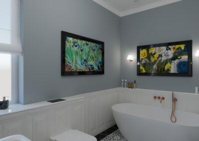 Łazienka klasyczna z obrazami